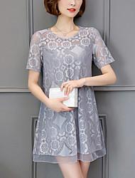 Dámské Šik ven Jdeme ven Velké velikosti Volné Krajka Šaty Jednobarevné,Krátký rukáv Kulatý Mini Polyester Léto Mid Rise Lehce elastické