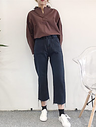 assinar 2017 nova primavera invencível coreano fácil de tomar duplas bolso da calça jeans oitavos femininos