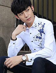 Sign models fall men's personality printing Korean men cultivating long-sleeved shirt shirt tide hairstylist