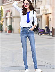 Sign tight new jeans female Korean version of the spring was thin light-colored long pants feet pencil pants students
