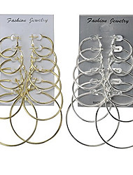 Women's Hoop Earrings Jewelry Basic Multi-ways Wear Classic Costume Jewelry Alloy Round Jewelry For Wedding Party Special Occasion