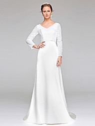 Sheath / Column V-neck Sweep / Brush Train Lace Sequined Wedding Dress with Sequin by LAN TING BRIDE®