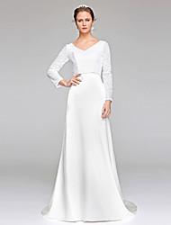 Tubinho Decote V Cauda Escova Renda Paetês Vestido de casamento com Lantejoulas de LAN TING BRIDE®