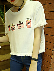 Real shot Nett ~ 2017 summer new sweet College Wind cute fringed cotton short T-shirt 3 colors
