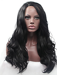 cheap -Sylvia Glueless Synthetic Lace front Wig Natural Black Heat Resistant Long Natural Wave Synthetic Wigs