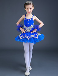 cheap -Ballet Dresses Performance Spandex / Tulle Lace / Crystals / Rhinestones / Paillette Sleeveless High Dress / Bracelets