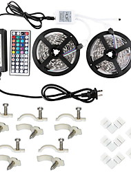 2*5M 5050 RGB  600 Led Strip Lights Kit Waterproof with 44key IR Controller1to2 and 12V 6A Power Supply