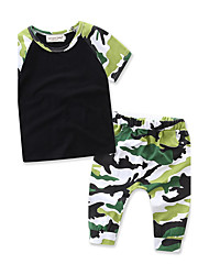 cheap -Boys' Daily Sports Formal Striped Geometric Print Clothing Set,Cotton Summer Short Sleeve Stripes Green