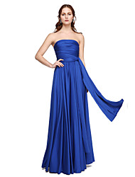 cheap -A-Line Strapless One Shoulder V-neck Floor Length Jersey Bridesmaid Dress with Pleats Criss Cross by LAN TING BRIDE®