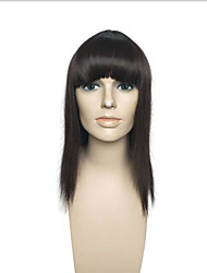 cheap -Long Straight Black Synthetic Wigs Capless With Neat Bangs Women Party Wig Hairstyle
