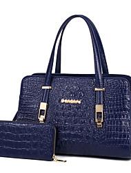 baratos -Mulheres Bolsas PU Conjuntos de saco 2 Pcs Purse Set Sólido Azul / Preto / Vermelho