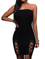 Women's Formal Party/Cocktail Club Sexy Simple Bodycon Dress,Solid Backless Criss-Cross Boat Neck Knee-length Above Knee Sleeveless