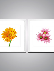 cheap -Framed Art Print Still Life Floral/Botanical Modern Realism,Two Panels Canvas Square Print Wall Decor For Home Decoration