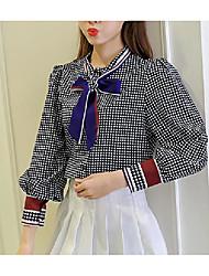 новый корейский лук галстук с длинными рукавами клетчатой рубашке женщина свободно шифон рубашки дна рубашки прилива