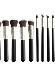 New 10 Black Silver Face Eye Lip Makeup Brush Sets Shading Brush Brush Highlights Beginners Essential Professional Makeup Brush Bag Mail