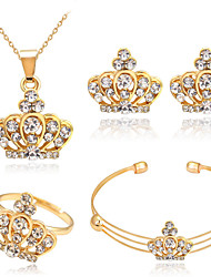 cheap -Women's Crystal Jewelry Set - Rhinestone Basic Include Gold Crown For Christmas Gifts / Wedding / Party / Rings
