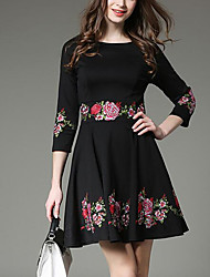 Women's Daily Casual Street Business Attire Sexy A Line Dress,Floral Print Round Neck Above Knee, Mini 3/4 Length Sleeves N/A Summer High