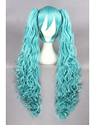 Long wave VocAloid Synthetic Green 32inch Anime Cosplay Ponytails Wig CS-222A