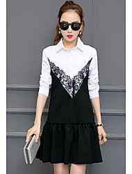 New women small fragrant wind fake two long-sleeved dress Korean version of the little black dress shirt stitching tide
