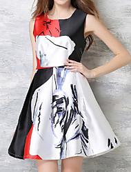 Знак европеец мода печать талия платье европа внешняя торговля