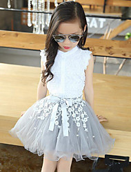 Girls' Daily Patchwork Clothing Set,Rayon Polyester Summer Sleeveless Lace White