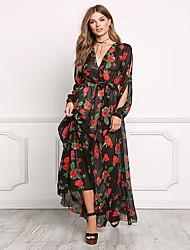 cheap -Women's Beach Cute Casual Sheath Dress - Floral Asymmetrical Deep V