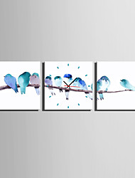 MINI SIZE E-HOME Birds on The Branch Clock in Canvas 3pcs High Quality