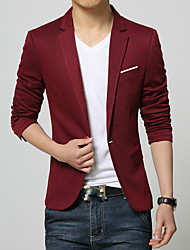cheap -Men's Solid Casual / Work / Formal Blazer,Cotton Long Sleeve Black / Blue / Red / Gray