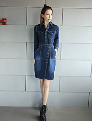 Women's Office/Career Daily Cute Street chic A Line Dress,Solid Color Shirt Collar Midi Long Sleeve N/A Summer High Rise Stretchy Medium