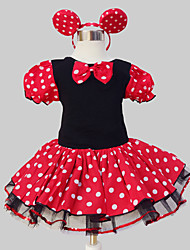 cheap -Girl's Polka Dot Patchwork Dress,Polyester All Seasons Short Sleeve Dot Ruffle Bow Red
