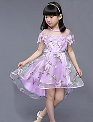 cheap -Girl's Daily Going out Holiday Solid Floral Dress,Cotton Polyester Summer Short Sleeve Floral Lace Blue Beige Purple