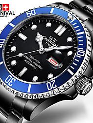 Carnival Pánské Módní hodinky Náramkové hodinky mechanické hodinky Automatické natahování Nerez Kapela Černá Černá/Modrá
