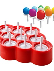 1Pcs 9Holes New Silicone Mini Ice Pops Mold Ice Cream Ball Maker Popsicle Molds Random Color
