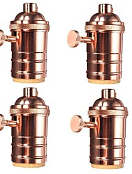 4 Pcs E26/ E27 Industrial Light Socket Vintage Edison Pendant lamp Metal holder With Knob switch