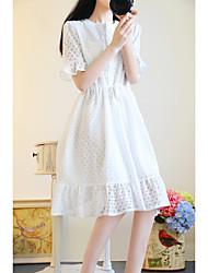 Sign new sweet bow elastic waist flounced hem lace dress summer