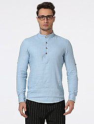 Men's Casual/Daily Simple Spring Fall Shirt,Solid Stand Long Sleeves Linen