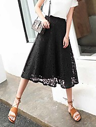 Women's High Rise Going out Beach Midi Skirts,Simple Street chic A Line Lace Solid Spring Summer
