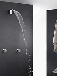 Contemporain Décoration artistique/Rétro Moderne Baignoire et douche Cascade Thermostatique Douchette inclue with  Soupape en laitonDeux