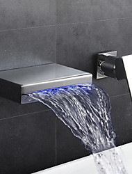 cheap -Bathroom Sink Faucet - Waterfall Thermostatic LED Chrome Wall Mounted Two Holes Single Handle Two Holes