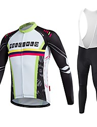 cheap -Malciklo Men's Long Sleeve Cycling Jersey with Bib Tights Bike Tights, Quick Dry, Breathable Coolmax®, Lycra Stripe / High Elasticity