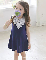 cheap -Girl's Daily Solid Dress, Cotton Summer Short Sleeves Lace Blue Blushing Pink