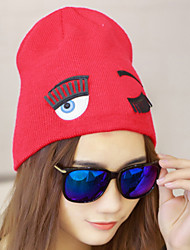 cheap -Women Autumn Warm Eyelashes Eyes Printed Candy Color Wool Knitted Stretch Crimping Protect Ear Skiing Hat