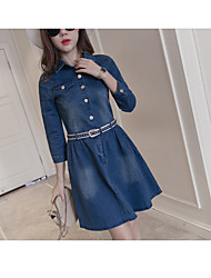 cheap -Women's Daily Casual Denim Dress,Solid Shirt Collar Above Knee Long Sleeves Cotton Spring Mid Rise Micro-elastic Medium