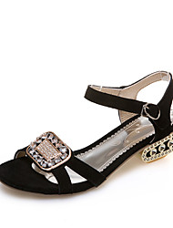 Women's Sandals Summer Slingback D'Orsay & Two-Piece Leather Office & Career Dress Casual Low Heel Rhinestone Buckle Hollow-out