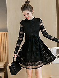 Sign lace dress Korean Women round neck lace stitching crease was thin 2017 new spring dress