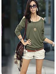 Novo coreano outono nu ombro arnês-estilo moda ol cultivar de manga comprida t-shirt