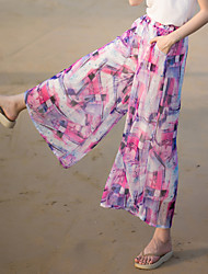 Действительно делает 2017 летом новые широкие брюки ноги женские брюки женские шифон печатные пляжные каникулы ветер случайные брюки