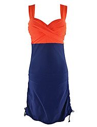 Women's Straped One-pieceCross High Rise Color Block Plus Size Backless Casual Dress Bikini