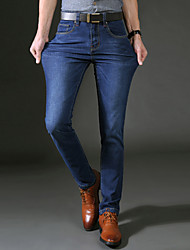 Men's Straight Jeans PantsCasual/Daily Simple Solid Mid Rise Button Cotton Polyester Micro-elastic All Seasons HY-101