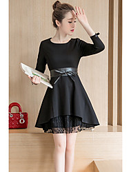 Sign 2017 new women's fashion Slim solid wild lace long-sleeved dress and long sections